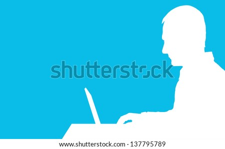 A silhouette of a man sitting at a laptop computer - stock vector