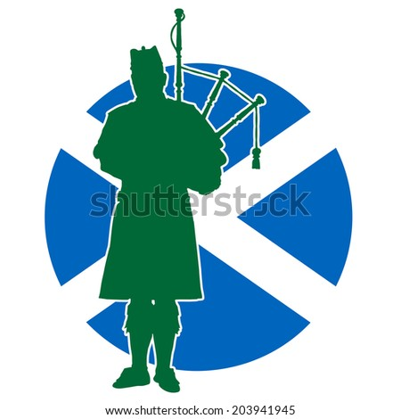 A silhouette of a Scottish piper playing the bagpipes. The Scottish flag is in the background - stock vector