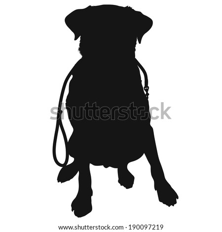 A silhouette of a sitting Labrador Retriever holding a leash in it's mouth and waiting to go for a walk. This could also be a generic short haired dog - stock vector