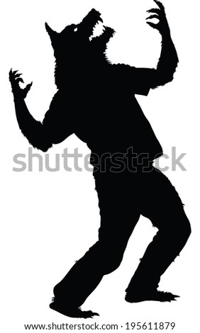 A silhouette of a werewolf howling. - stock vector