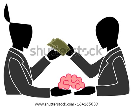 A silhouette person is selling and trading his own creative brain idea to another people. This can be the concept of outsourcing or anything about creativity, create by vector  - stock vector