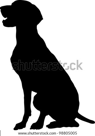 A silhouette, profile view of a sitting German Pointer. - stock vector
