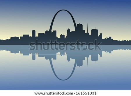 A silhouetted view of downtown St. Louis, Missouri. - stock vector