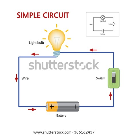 simple circuit that consists battery switch stock vector. Black Bedroom Furniture Sets. Home Design Ideas