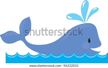A simple design of a whale spouting, while swimming in the sea. - stock vector