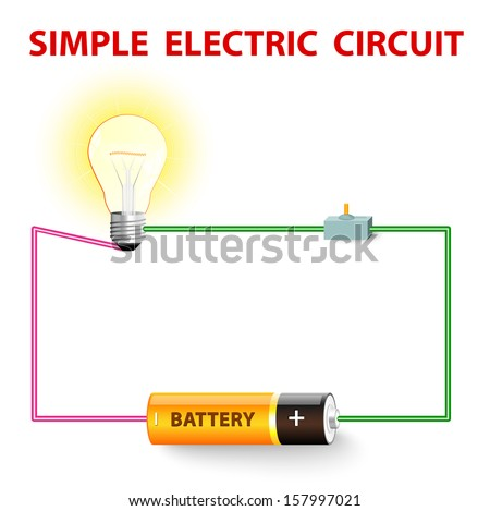 A simple electric circuit. Electrical network. switch, light bulb, wire and battery. Vector illustration - stock vector