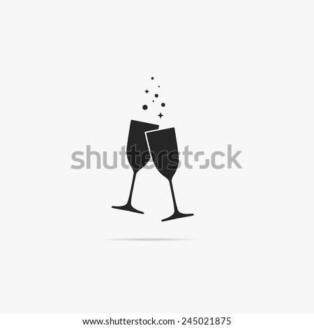 A simple icon of two glasses of champagne. - stock vector