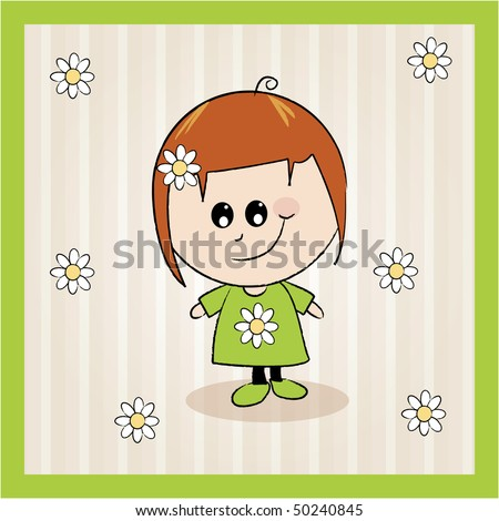 A simple illustrated card design with a cartoon girl character - stock vector