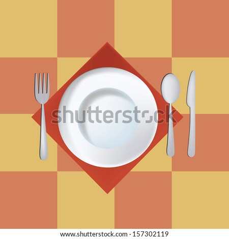a simple illustration of a dish and some utensils in a squared background