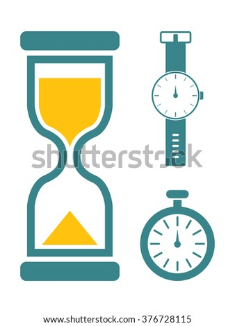 A simple set of flat vector timer icons featuring a stop watch, wrist watch, and a hourglass.