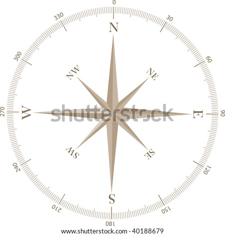 A simple windrose indicating cardinal points and angles - stock vector
