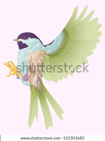 a single bird flying isolated in pink color - stock vector