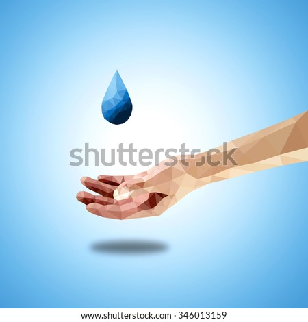 A single blue water-drop drip onto an open hand, low poly vector illustration.  - stock vector