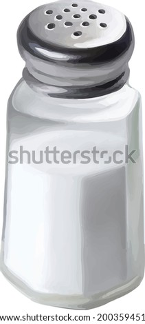 A single salt shaker on white background. Vector illustration - stock vector
