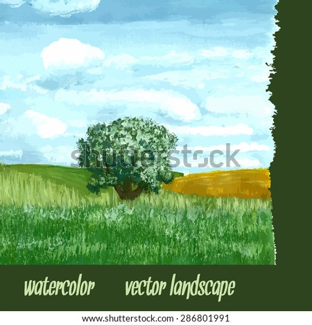 a single tree on a plain summer sky with clouds, beautiful landscape - stock vector