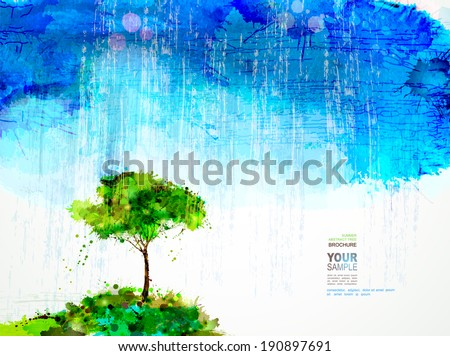 A single tree stands under rain cloud. - stock vector
