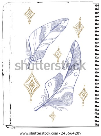A sketch drawing of stylized feathers and stars on a sketchbook page - stock vector