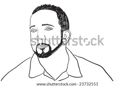 A sketch of a man with a goatee and thin beard.  This vector image is fully editable. - stock vector