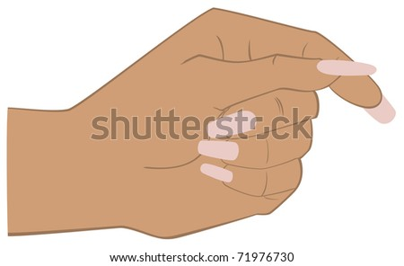 A sketch of a woman's hand with fingers folded in a pinch - stock vector
