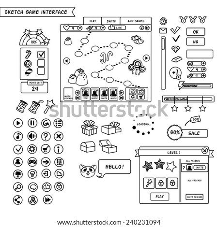 Sketch Elements Game Interface Stock Vector 240231094 - Shutterstock