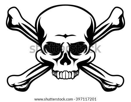 A skull and crossbones icon illustration like a pirates jolly roger sign - stock vector