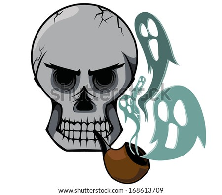 A skull and pipe with smoke of soul.
