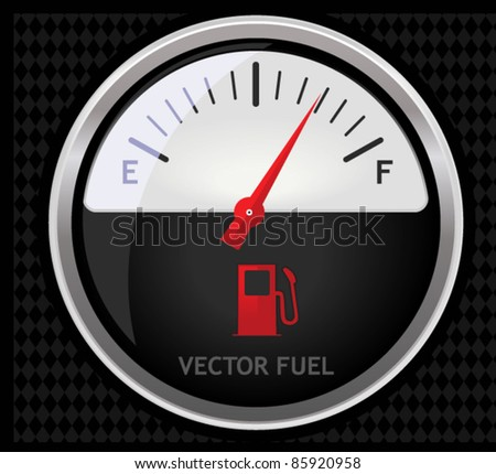 A sleek illustration of a classical fuel meter isolated on black - stock vector