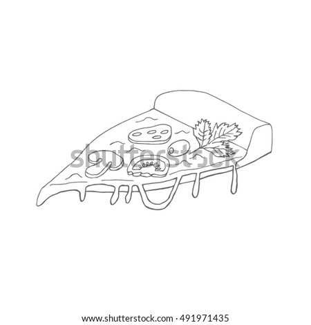 A slice of hand-drawn appetizing pizza. Doodle vector illustration of pizza for design of cafe, restaurant, menu. Wrapping ideas, advertising, etc.
