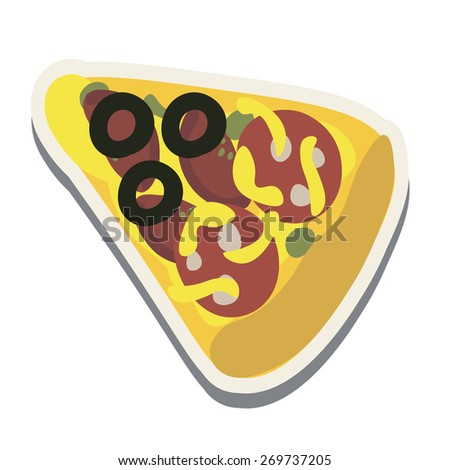A slice of pizza with cheese, tomatoes, sausage and olives. Sticker. - stock vector