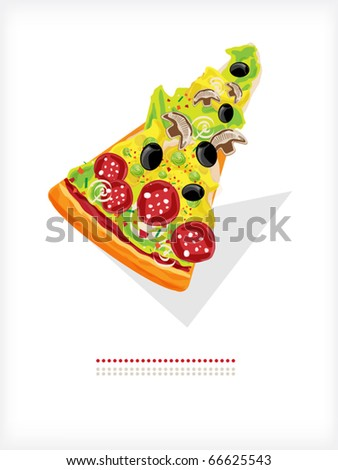 A slice of pizza with salami, mushrooms and olives. - stock vector
