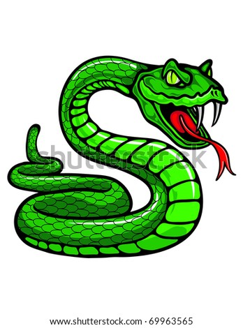 A slithering snake sticks out his tongue. - stock vector