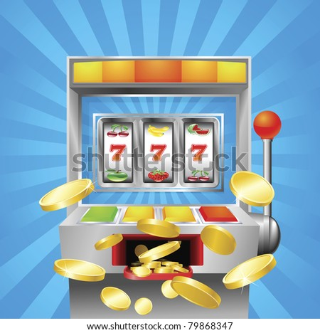 A slot fruit machine winning on 7s. Gold coins fly out at the viewer. - stock vector