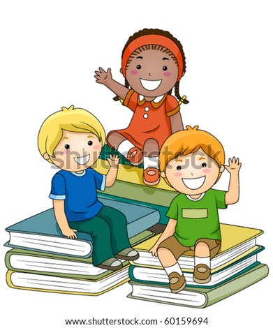 A Small Group of Kids Sitting on Piles of Books - Vector - stock vector