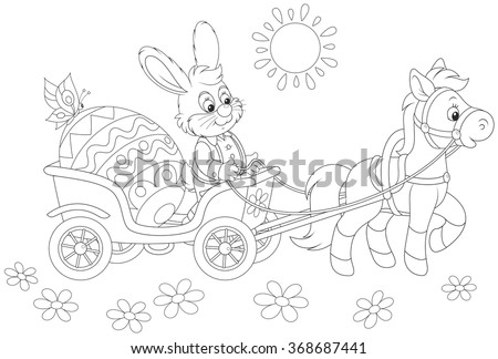 A small pony pulling a carriage with a smiling Easter Rabbit and a big decorated egg
