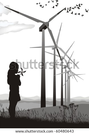 A small propeller and large wind farms, vector illustration - stock vector