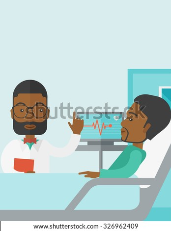 A smiling African American doctor visits a patient lying on hospital bed  vector flat design illustration. Vertical poster layout with a text space. - stock vector