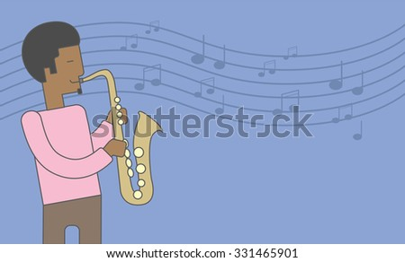 A smiling african-american musician playing saxophone on blue background with notes. Vector line design illustration. Horizontal layout with a text space for a social media post. - stock vector