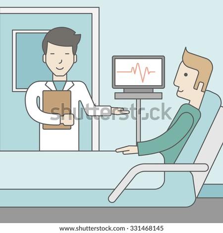 Smiling Asian Doctor Visits Caucasian Patient Stock Vector ...