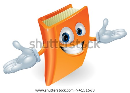 A smiling book cartoon illustration. Education, reading or teaching mascot - stock vector