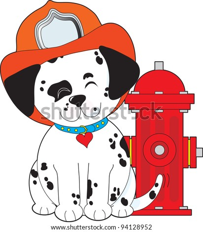 A smiling Dalmatian pup, sitting close by a red fire hydrant, is wearing a fireman's hat and wagging his tail happily. - stock vector