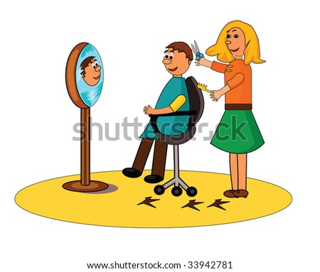 A smiling hairdresser cuts a man's hair.