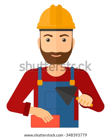 A smiling hipster bricklayer with a spatula and a brick in hands vector flat design illustration isolated on white background. Vertical layout. - stock vector