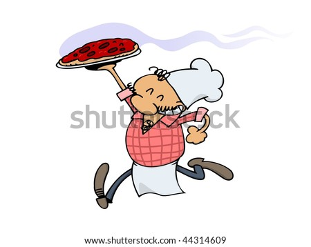 A smiling pizza chef serving a fresh, hot pizza straight from the oven - stock vector