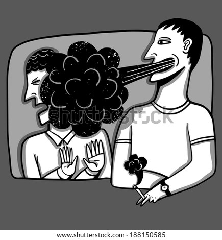 A smoker smoking in the in face of a partner - stock vector