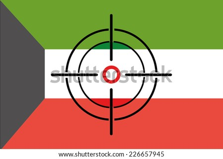 A Sniper Scope on the flag of Kuwait