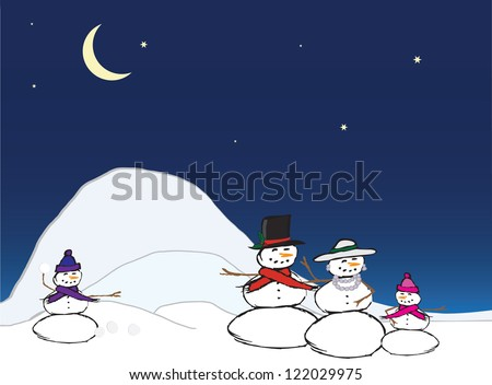 A snow couple stand together with one child. One snow child on the left side is throwing a snowball towards them. They are enjoying a cool winter's evening. - stock vector