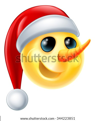 A snowman Christmas emoticon Emoji wearing a Santa hat - stock vector