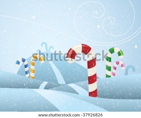 A snowy field of different flavored candy canes growing like trees. - stock vector