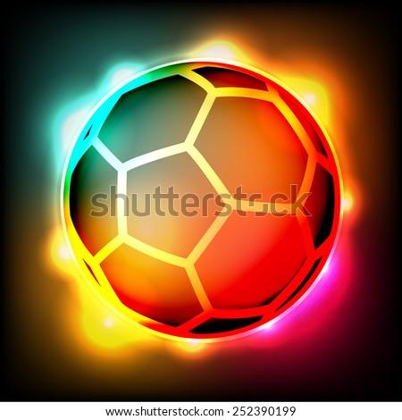 Blue flaming soccer ball