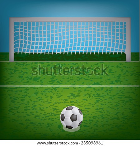 a soccer ball on the penalty area and the soccer net - stock vector